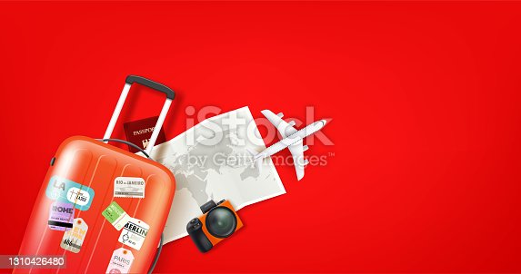 istock Travel illustration with different staff. Red bag, map, airplane model, camera 1310426480