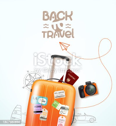 istock Travel illustration with travel staff and logo 1307680694