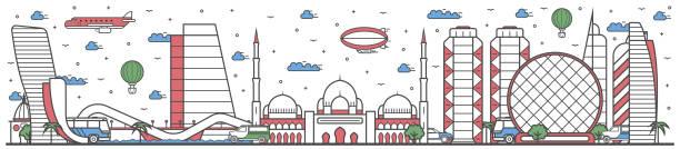travel in abu dhabi city line flat design banner - abu dhabi stock illustrations