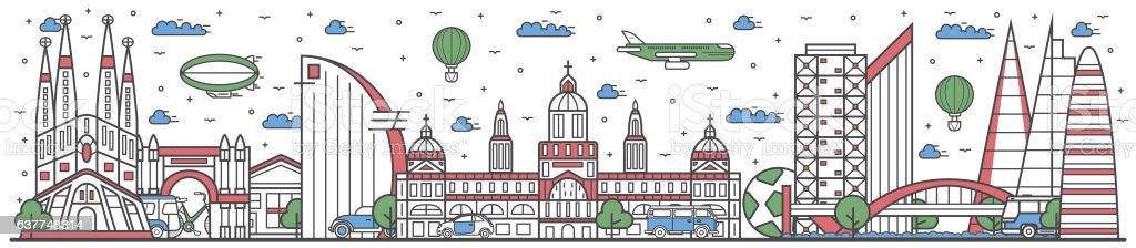 Travel in Barcelona city line flat design banner - ilustración de arte vectorial