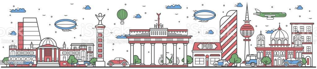 Travel in Berlin city line flat design banner vector art illustration