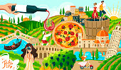 Travel in italy symbols, rome and italian architecture, food and people tourism elements landmarks, pisa tower, venice cartoon vector illustration. Italy culture tourists travelling advertisement.