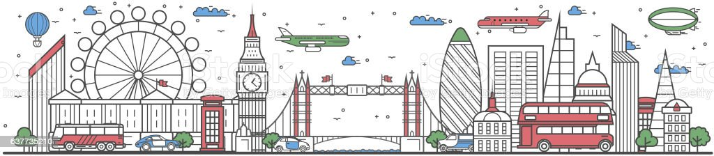 Travel in London city line flat design banner vector art illustration