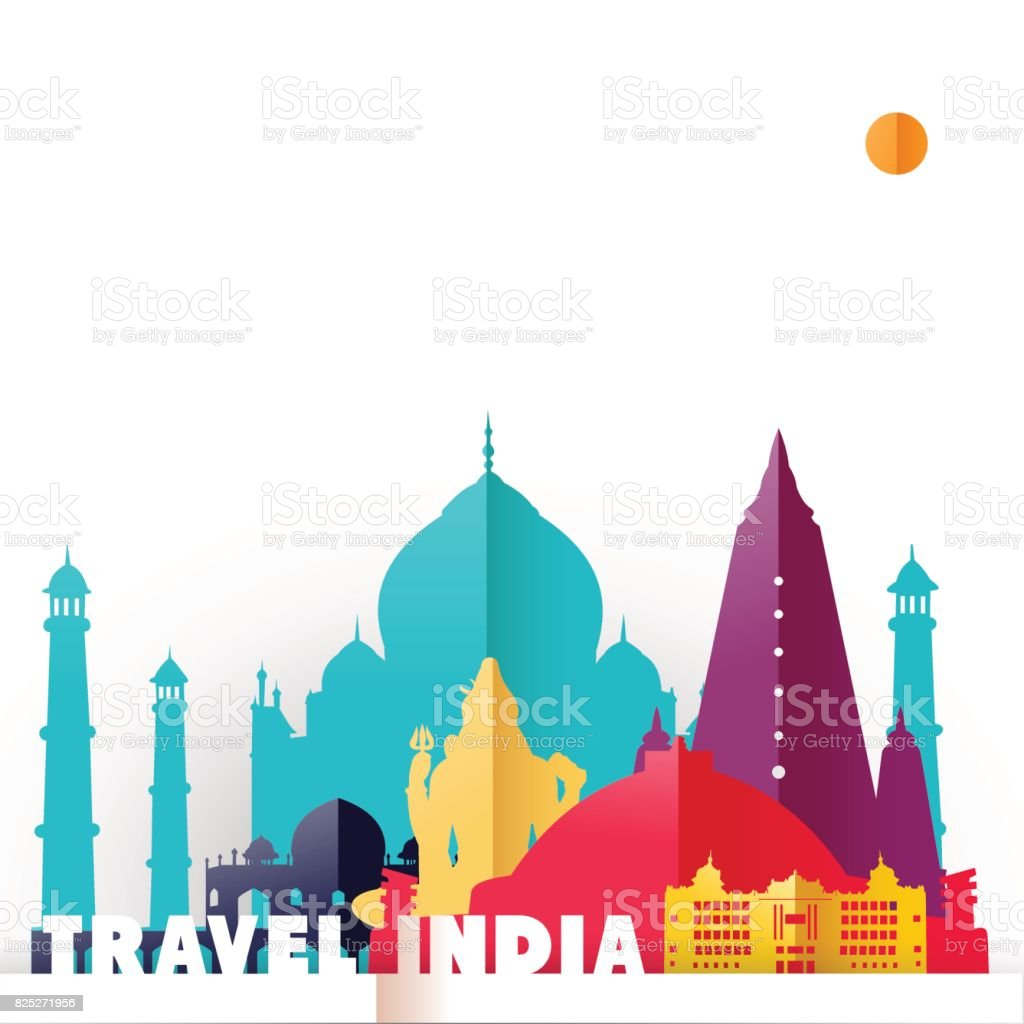 Travel India country paper cut world monuments vector art illustration