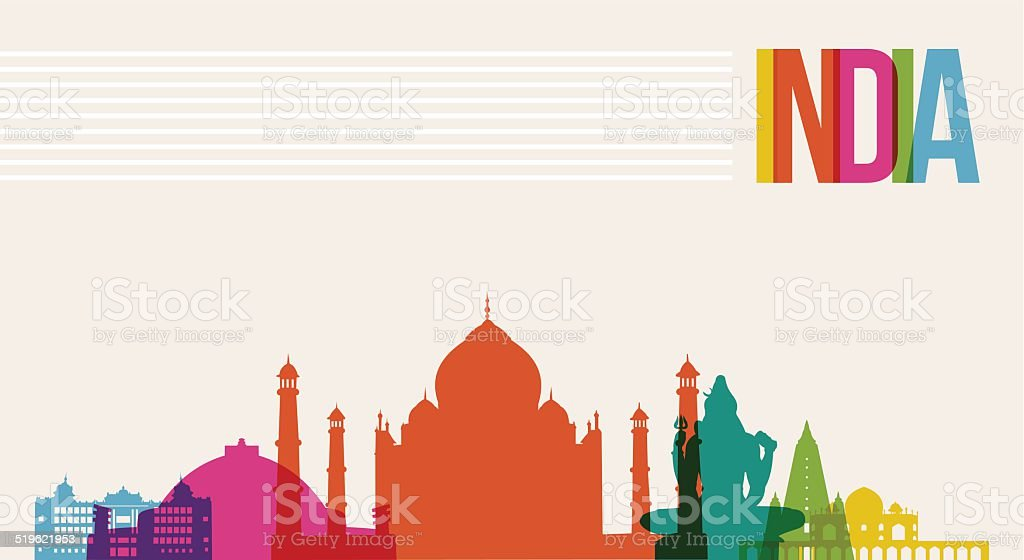 Travel India destination landmarks skyline background vector art illustration
