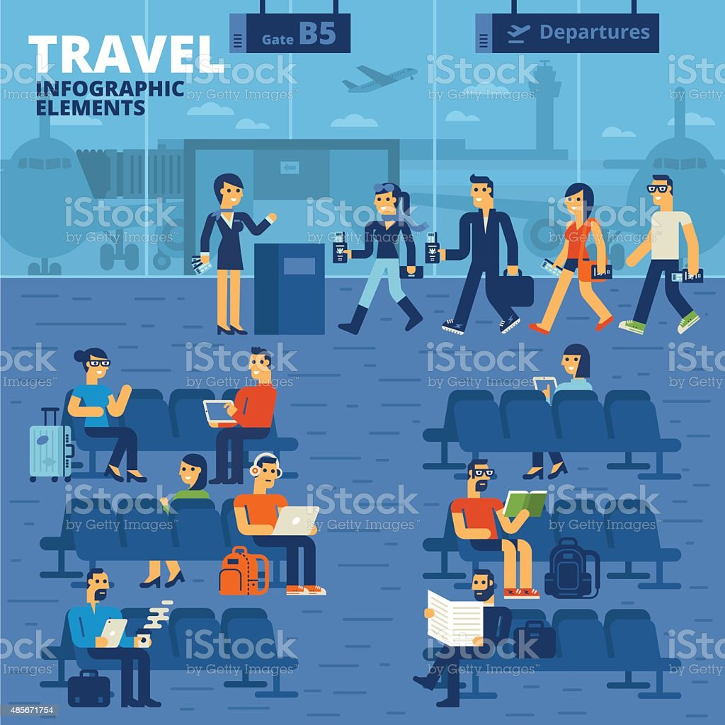 Travel Infographic Elements vector art illustration