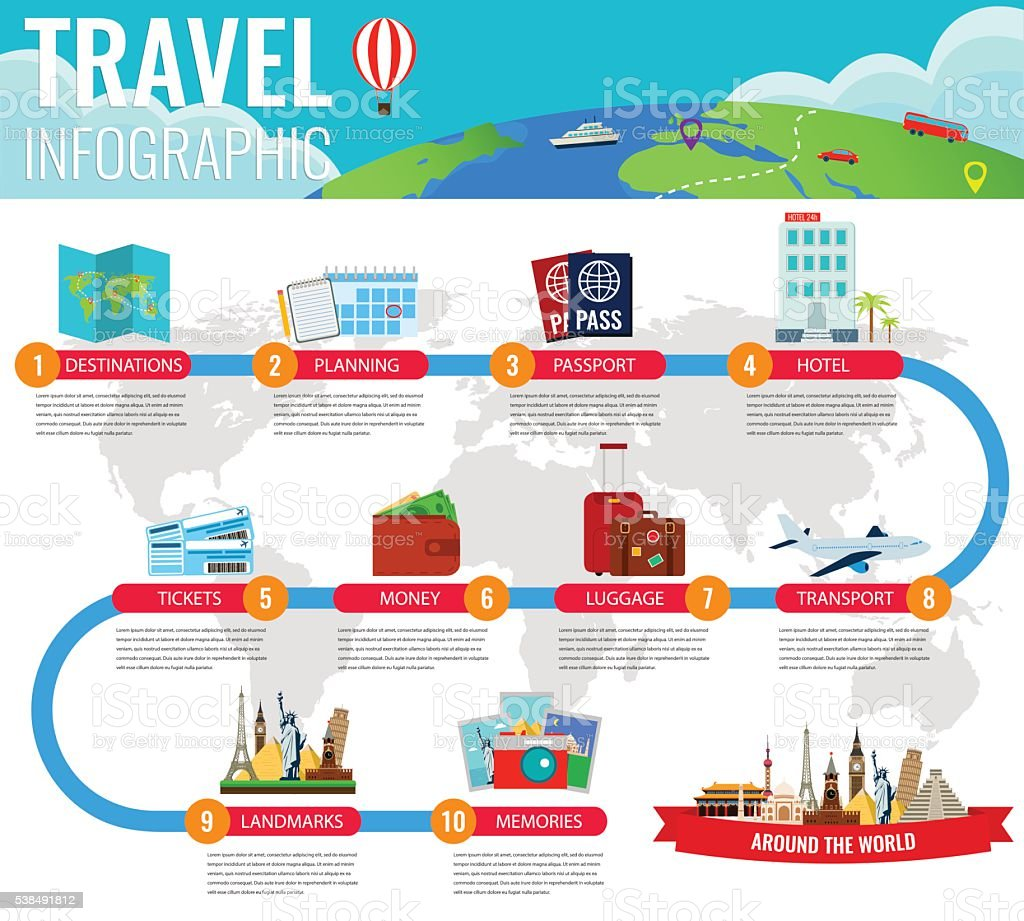 Travel infographic. Infographics for business, web sites, presentations, advertising. vector art illustration