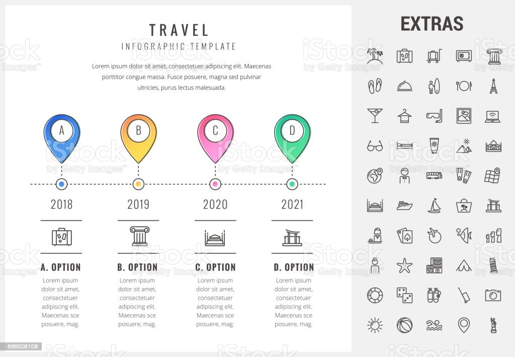 Travel infographic template, elements and icons vector art illustration
