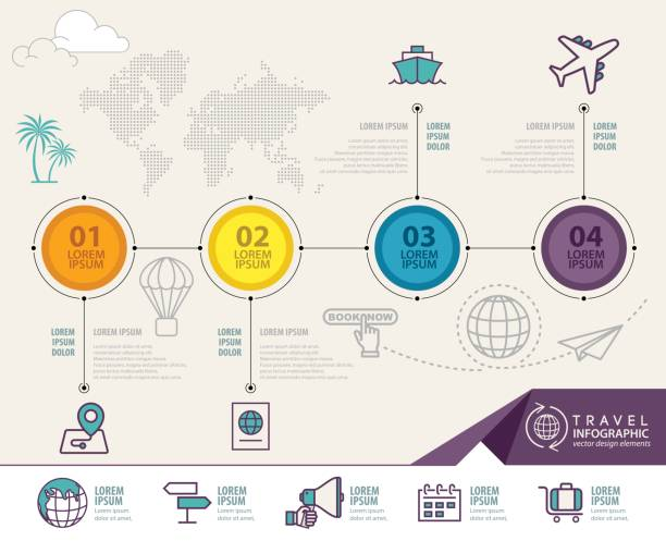 travel infographic vector design. infographic design template - business travel stock illustrations, clip art, cartoons, & icons