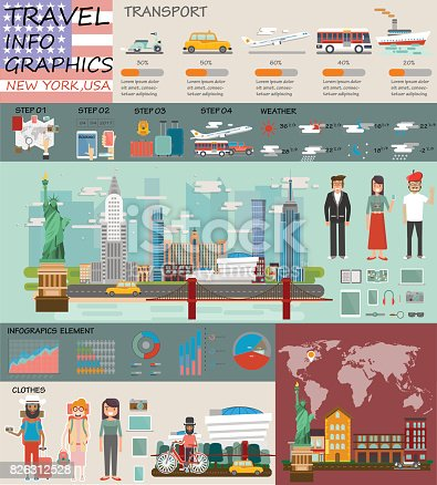istock Travel infographic.New york infographic tourist sights of USA, welcome to New york.USA infographic. Travel to New york presentation template 826312528