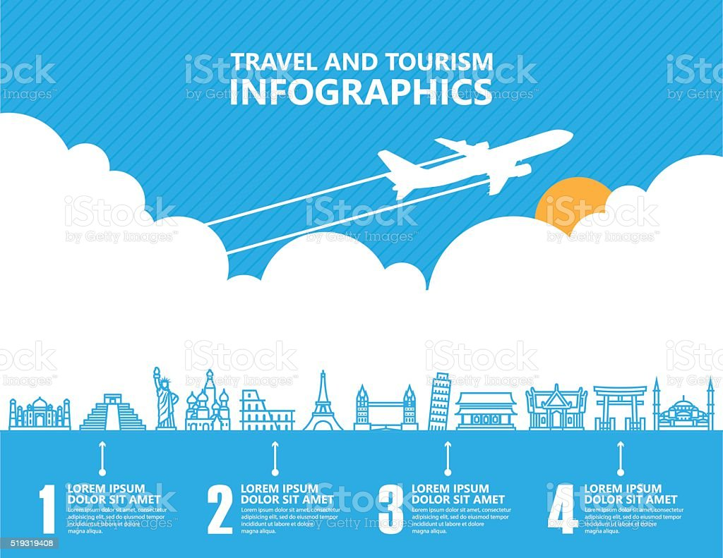 Travel infographics ,landmark and transport vector art illustration