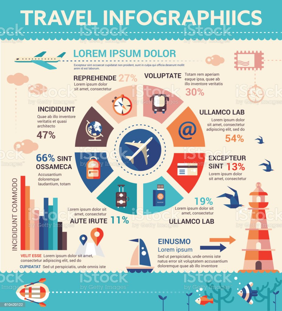travel infographics poster brochure cover template のイラスト素材