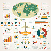 Travel infographics with data icons and elements.