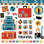 A vector illustration of travel infographic design elements.