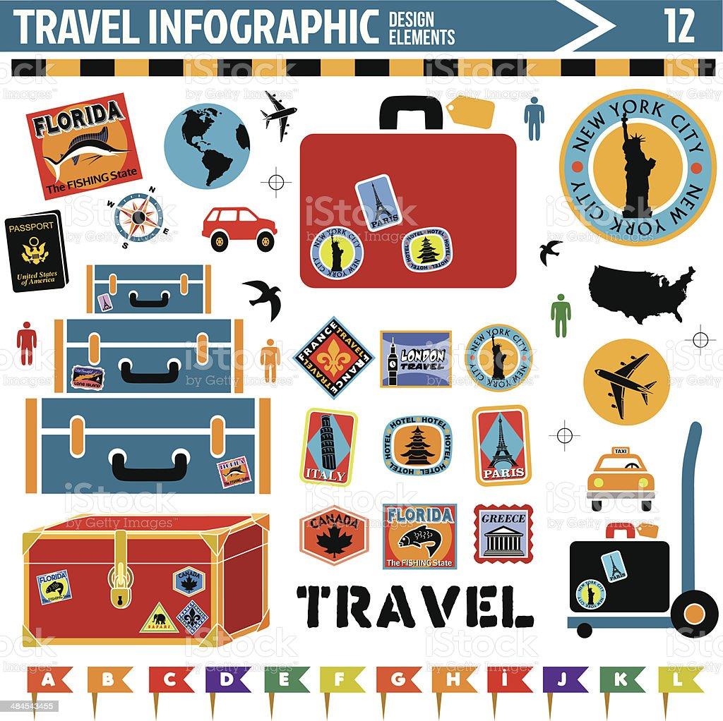 travel inforgraphic design elements vector art illustration