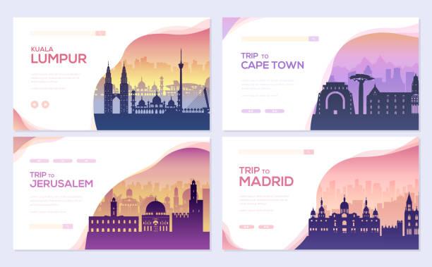 여행 정보 브로셔 카드 세트. 프리 플라이어의 템플릿-풍경, 아프리카, 이스라엘, 스페인 전단지의 서식 파일, 웹 배너, ui 헤더, 사이트를 입력 합니다. 레이아웃 초대장 현대 슬라이더 - 쿠알라룸푸르 stock illustrations