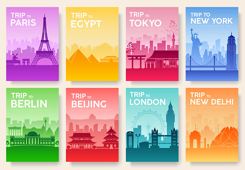 Travel information cards. Landscape template of flyer, magazines, posters, book cover, banners. Country of England, China, Germany, India, Japan, USA, France and Egypt set. Layout city pages