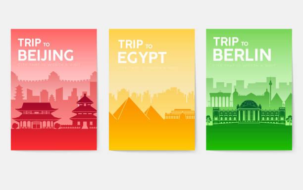 bildbanksillustrationer, clip art samt tecknat material och ikoner med resa informationskort. liggande mall av tidskrifter, bokomslag, affischer, reklamblad, banderoller. land av england, kina, tyskland, indien, japan, usa, frankrike och egypten ange. staden layoutsidor - berlin street