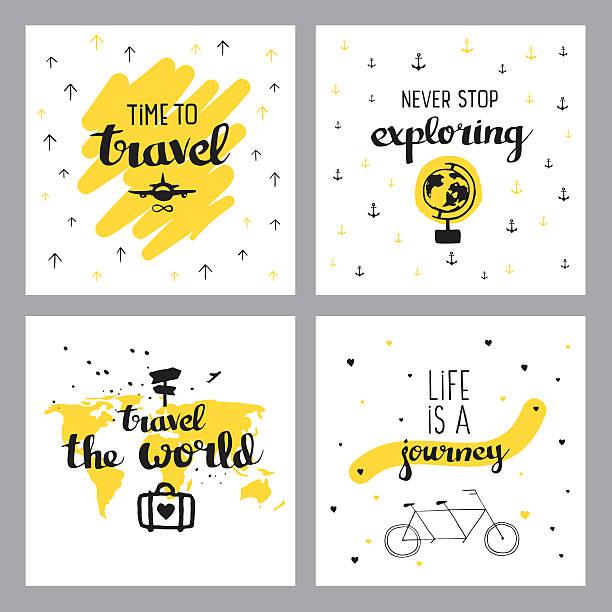 bildbanksillustrationer, clip art samt tecknat material och ikoner med travel inspiring quotes - happy driver