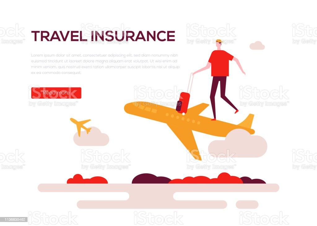 Travel insurance - colorful flat design style web banner vector art illustration