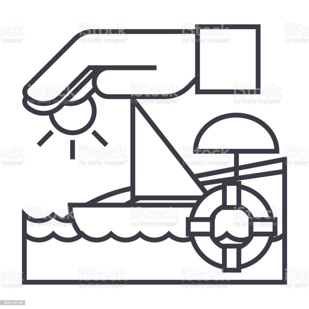 travel insurance,boat,sun,sand,lifebuoy vector line icon, sign, illustration on background, editable strokes vector art illustration