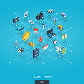 Travel integrated 3d web icons. Digital network isometric interact concept. Connected graphic design dot and line system. Background whith tour map, hotel booking, flight ticket. Vector Infograph