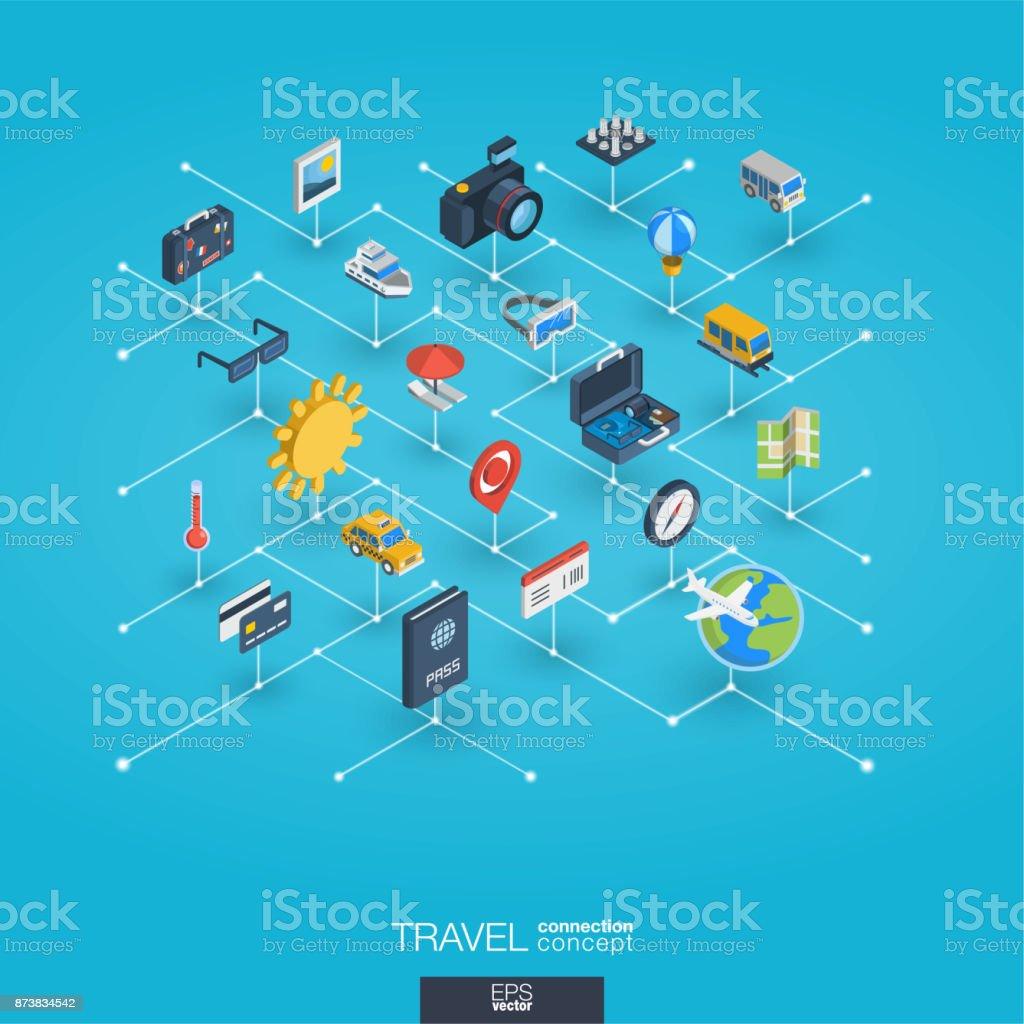 旅行は、3 d の web アイコンを統合します。デジタル ネットワーク等尺性概念。 ベクターアートイラスト