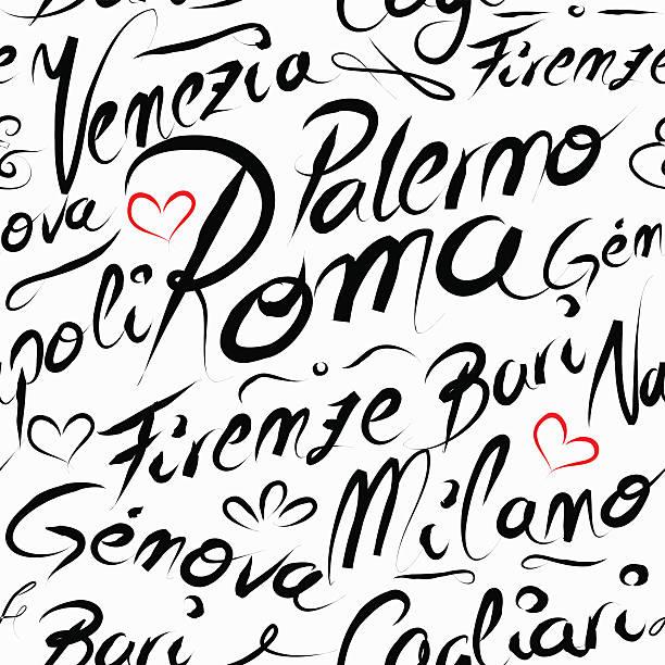 illustrazioni stock, clip art, cartoni animati e icone di tendenza di italia città di destinazione di viaggio nomi pattern senza bordi - palermo città