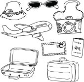Sketch drawing of travel items in black and white.