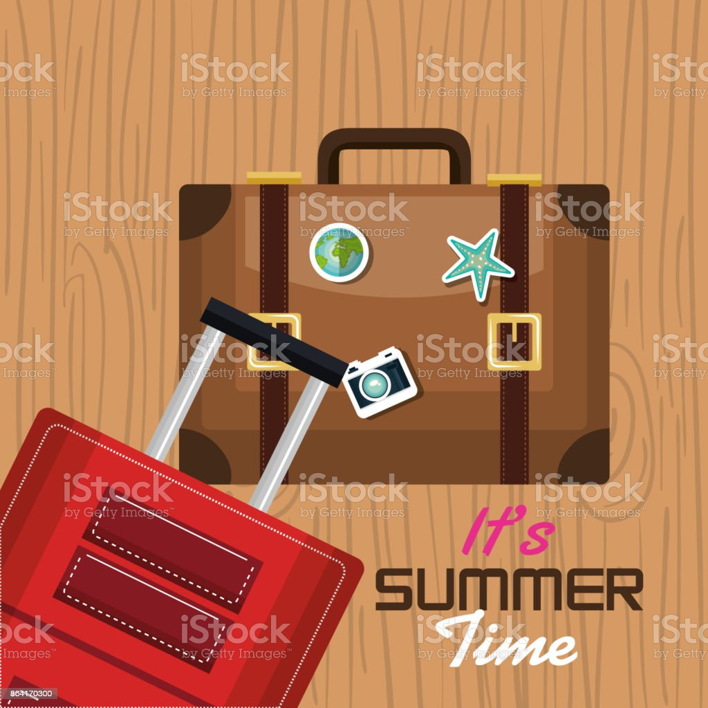 travel its time summer suitcase vacation design royalty-free travel its time summer suitcase vacation design stock vector art & more images of adventure