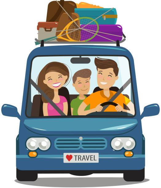 illustrations, cliparts, dessins animés et icônes de voyage, notion de voyage. famille heureuse balades en minibus. illustration de vecteur de dessin animé - vacances en famille