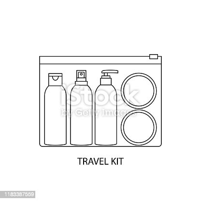 Travel kit cosmetics simple vector illustration
