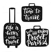 Travel label set with hand written lettering motivational inscription in suitcase silhouettes. inspiration quotes. Trendy typography design for cards, posters, banners, stickers