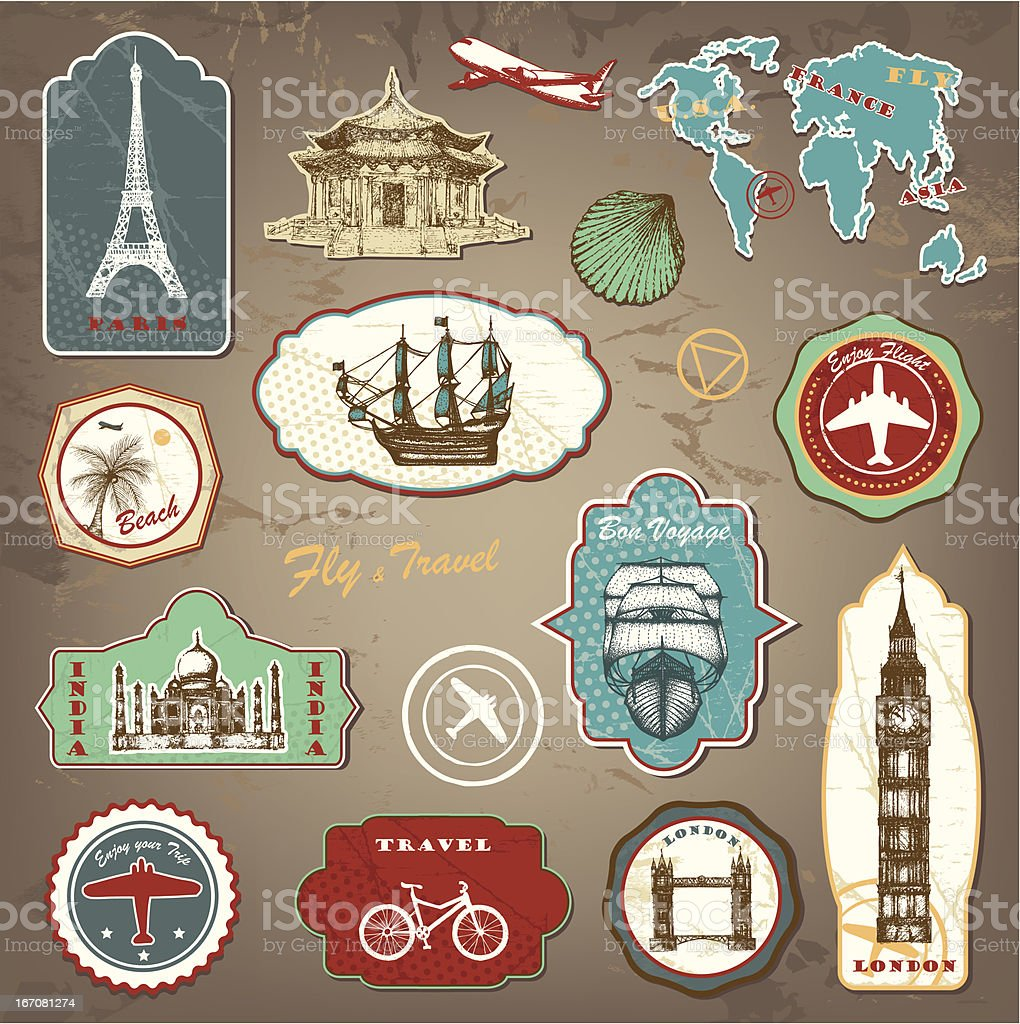 Travel labels vector art illustration