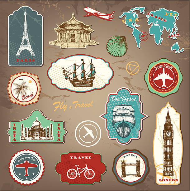 travel labels - south america travel stock illustrations, clip art, cartoons, & icons