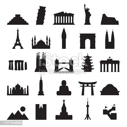 Travel Landmark Icons - Contour Black Solid Vector Illustration