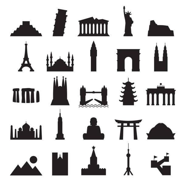 travel landmark icons - contour black solid vector - world map stock illustrations, clip art, cartoons, & icons
