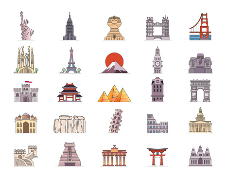 Travel Landmark Icons Editable Stoke. Set contains icon as Monuments, Tourism, Historical Buildings, Towers, Illustration