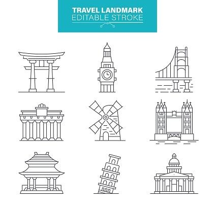 Travel Landmark Icons, Editable Stroke
