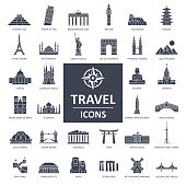 Travel Landmark Icons - Thin Line Vector illustration
