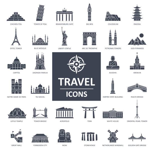 reisen sie landmark icons - dünne linie vektor - asienreisen stock-grafiken, -clipart, -cartoons und -symbole