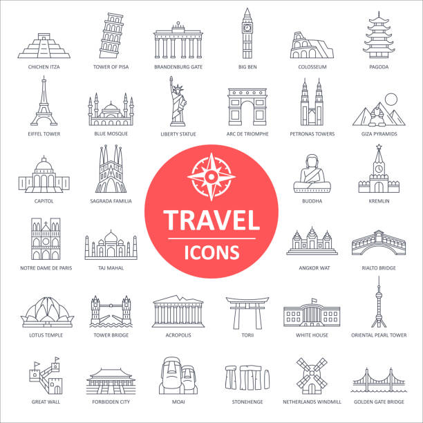 Travel Landmark Icons - Thin Line Vector Travel Landmark Icons - Thin Line Vector illustration eiffel tower stock illustrations