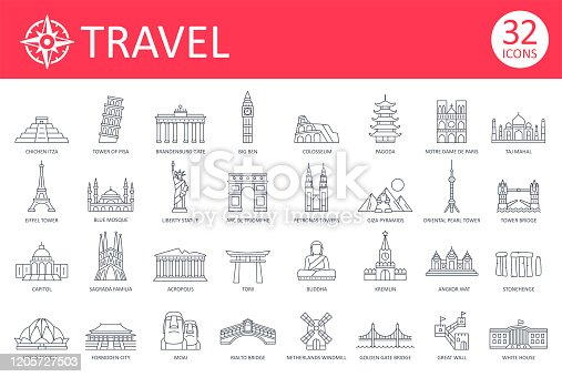 istock Travel Landmark Icons - Thin Line Vector 1205727503
