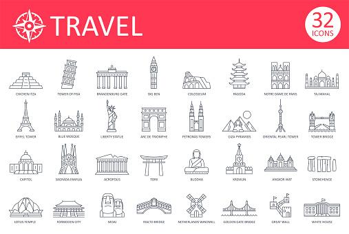 Travel Landmark Icons - Thin Line Vector