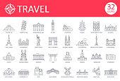 istock Travel Landmark Icons - Thin Line Vector 1205727503