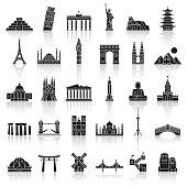 Travel Landmark Icons - Vector illustration