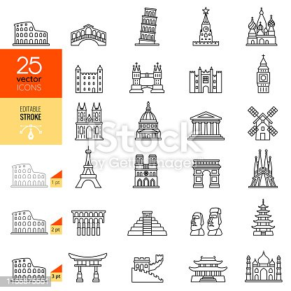 Travel landmark line icon set. Editable stroke.
