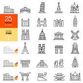 Travel landmark line icon set. Editable stroke.