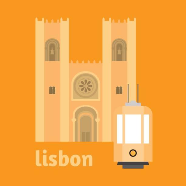 ilustrações de stock, clip art, desenhos animados e ícones de travel landmark portugal elements. flat architecture and building icons cathedral of lisbon. national portuguese symbol. - eletrico lisboa
