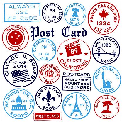 Travel Landmark Stamps